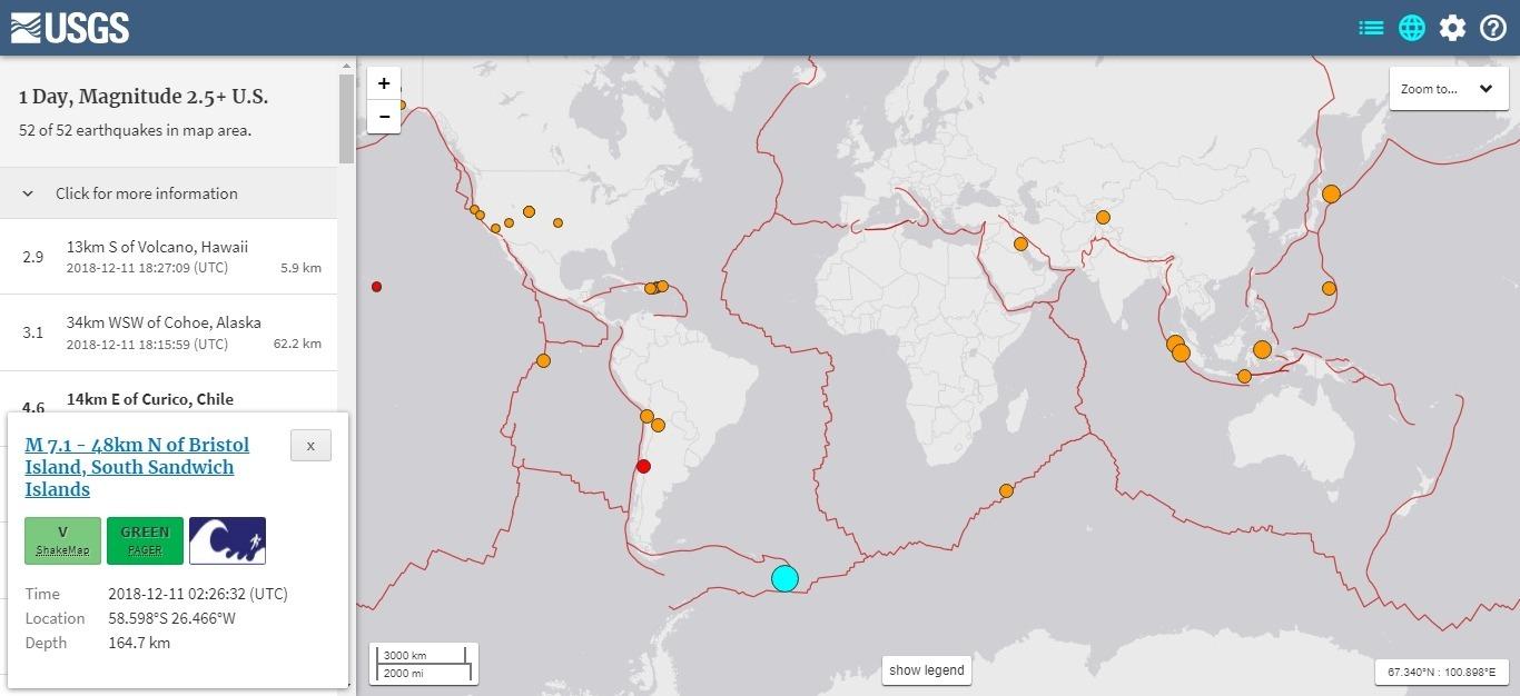 【大西洋】南サンドウィッチ諸島で「M7.1」の地震発生…震源の深さ約164km