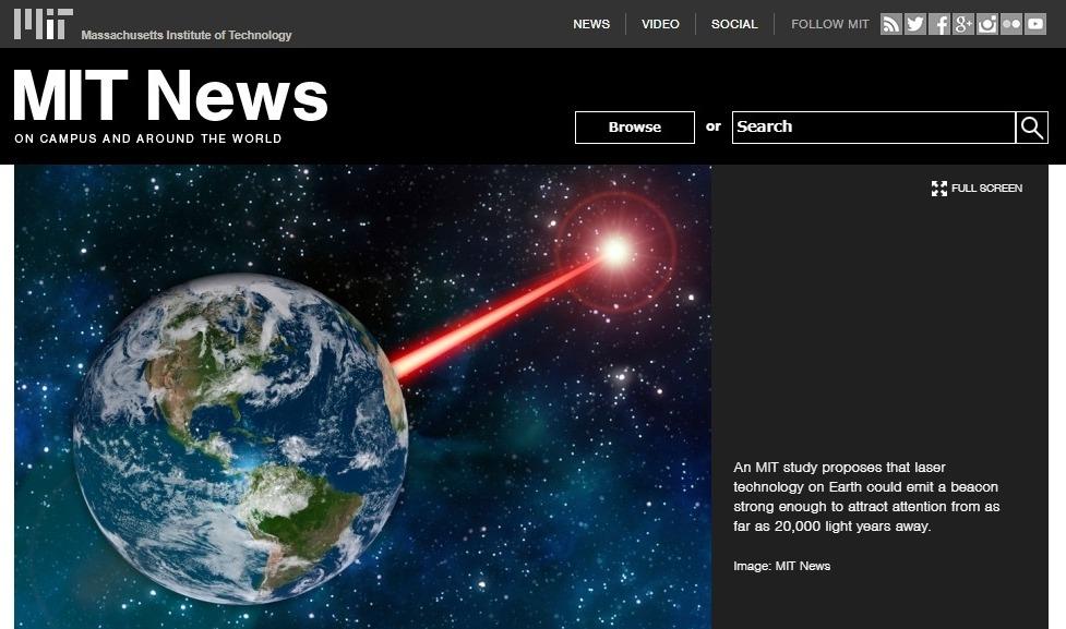 【アメリカ】レーザーを用いて「地球外知的生命体」に地球人類の存在を示す試みを提案