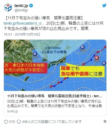 【消え去った秋】「マイナス21℃」の寒気が襲来!20日にかけて天気大荒れの模様…本格的な冬到来か?日本海側では急変に注意