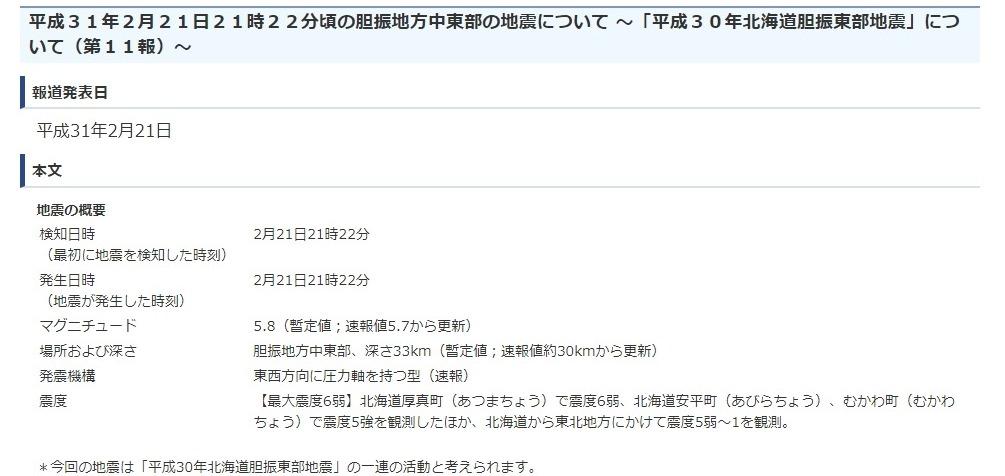 【大地震】気象庁「昨年9月に起きた北海道胆振東部地震の一連の活動、今後も同程度の揺れに注意」