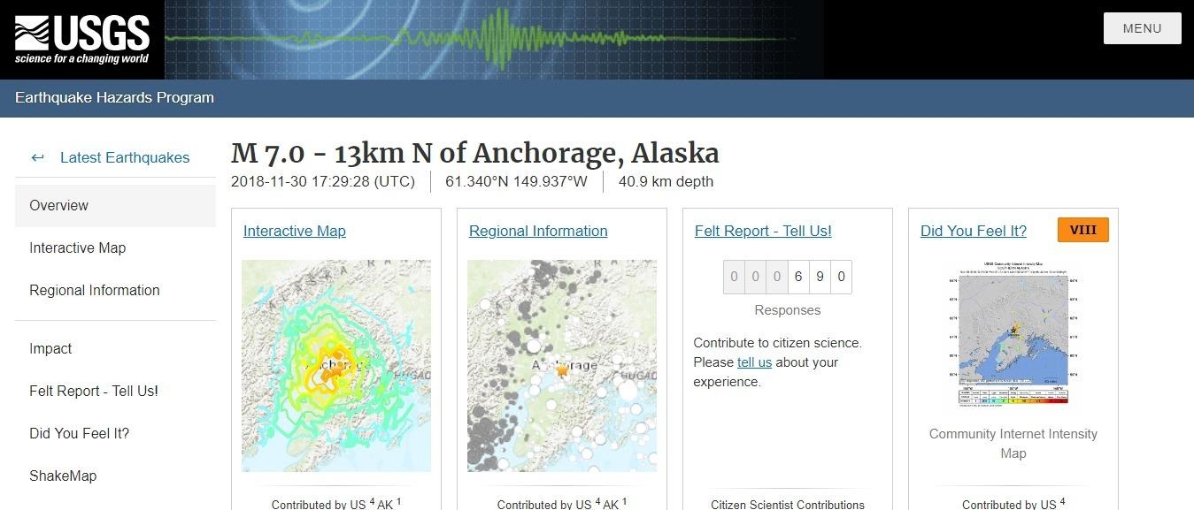 【アラスカ】アンカレッジで「M7.0」の地震発生、津波警報発令