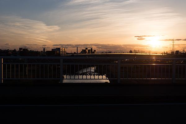 矢田川風景夕日