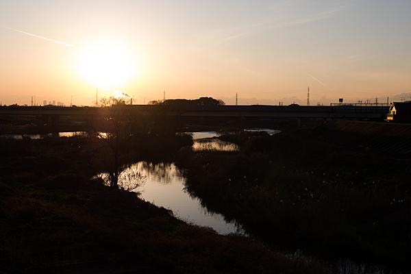 庄内川と夕日