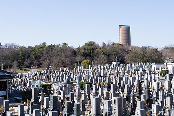 墓石群とタワー