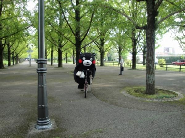 熊本県庁前広場をチャリで疾走するくまモン