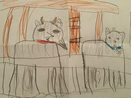 【写真】すみれちゃんが描いた絵(上り台の前に並んでいるアランとポール)