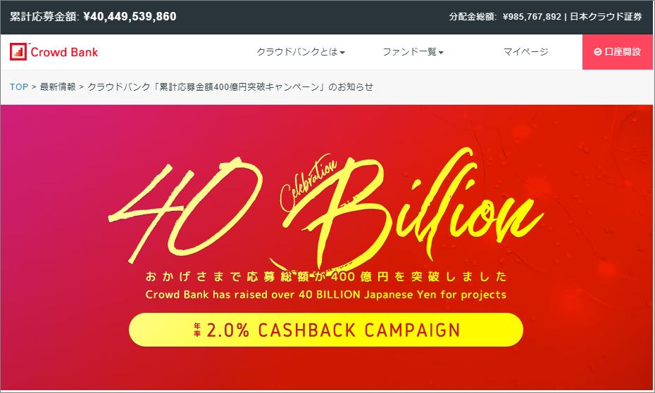 クラウドバンク400億円突破キャンペーン