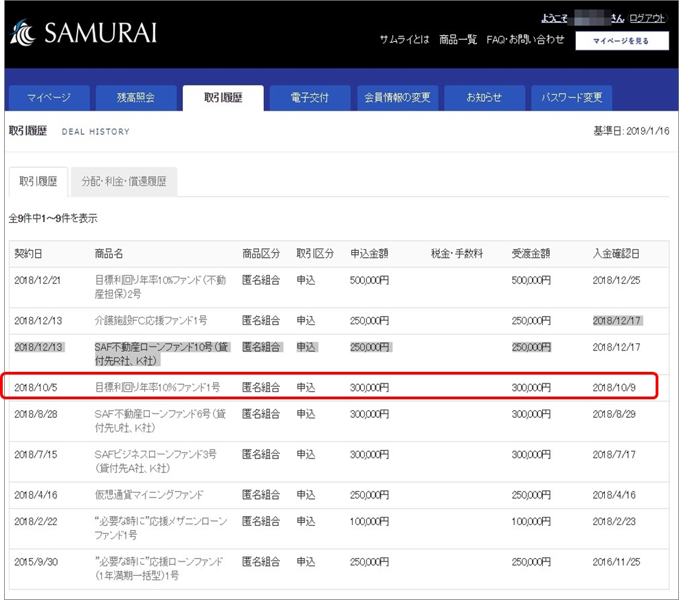 01_SAMURAI10%高利回りファンド