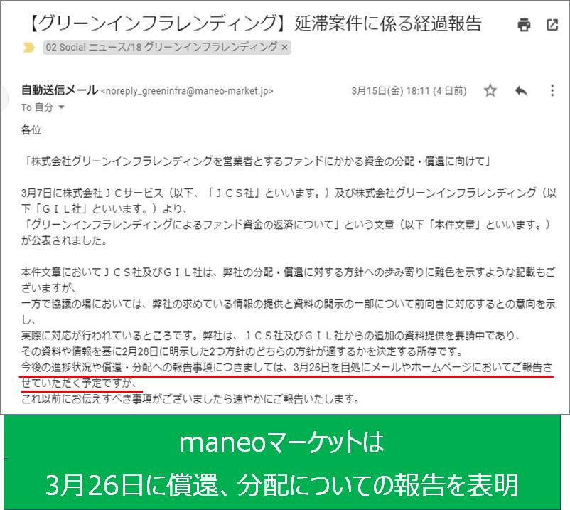maneoまーケットは3月26日に報告を表明