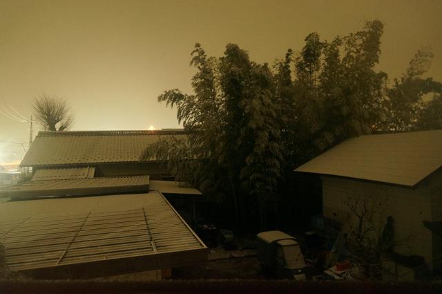 昨日の夜の降雪