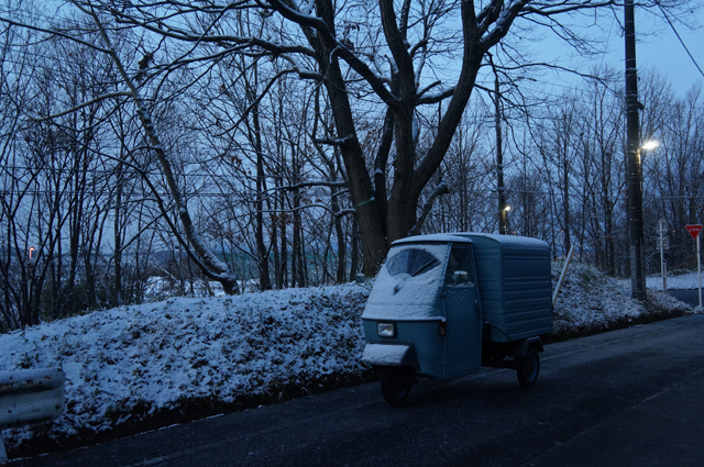 ベスパカー・アペと雪化粧した林