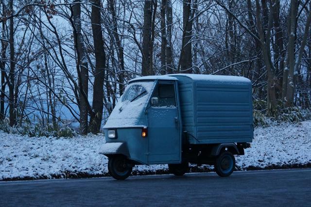 ベスパカー・アペと雪化粧の朝の林