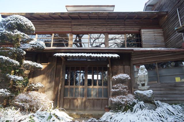 雪の日の朝の鳥山