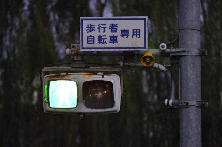 日本信号・250mm(群濃)/横向歩灯 〈群馬県前橋市・諏訪橋西詰〉