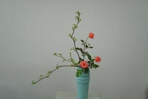 瓶花 芽出し木苺とバラ