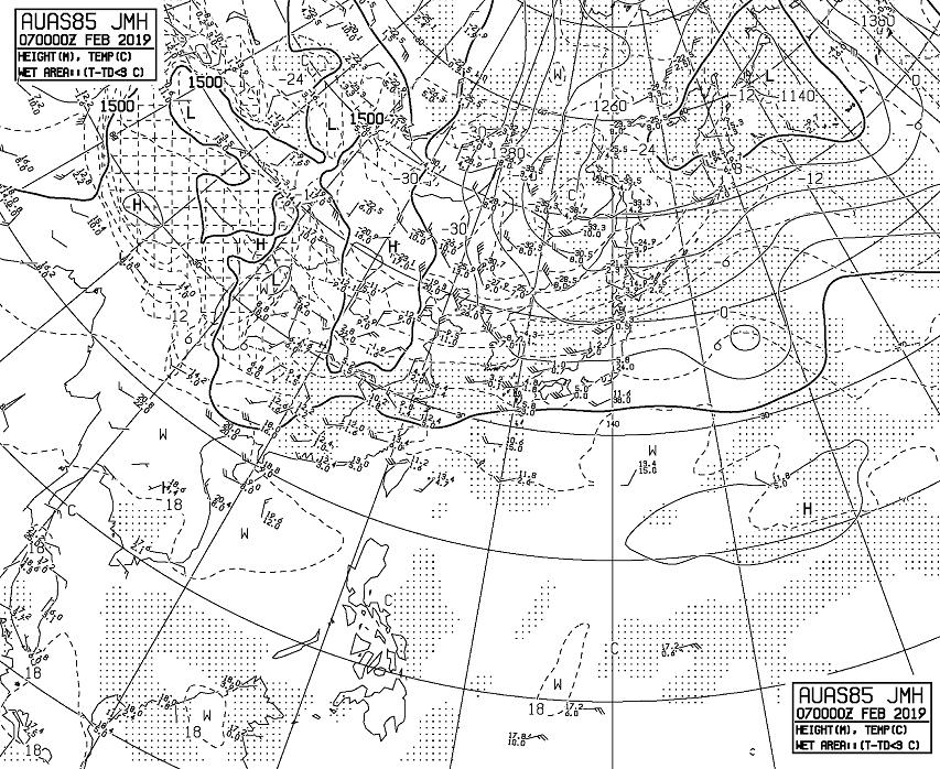 2019年2月07日09時、850hPa高層天気図