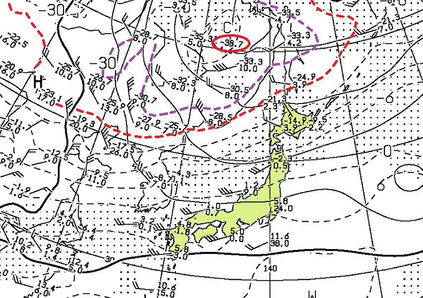 2019年2月07日09時、850hPa高層天気図 (日本付近を抜粋)
