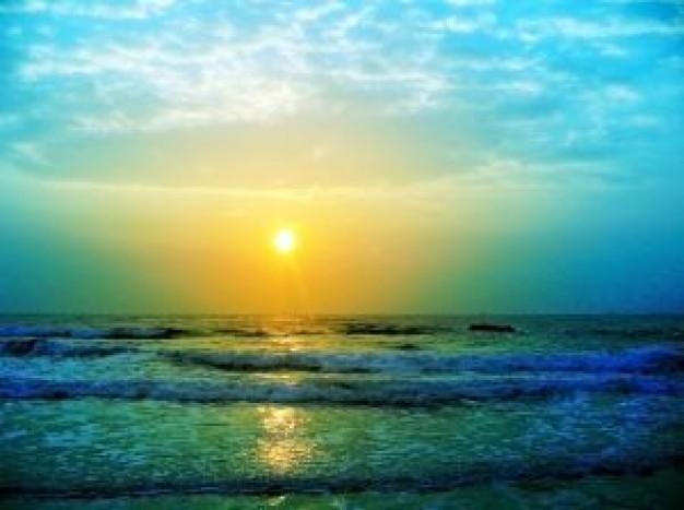 フリー画像・夜明けの海