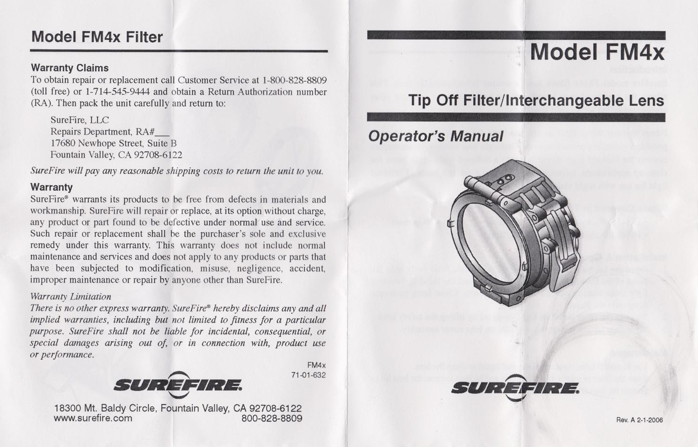 001説明書 SUREFIRE FM45 RED FILTER FM4X 1 37 BEZEL M952V M900V IR シュアファイアー レッドフィルター ウェポンライト 検証 取付 レビュー!!
