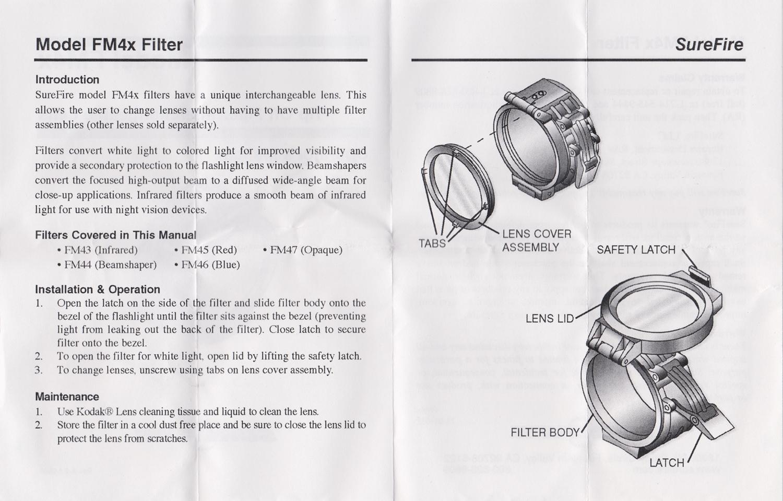 002説明書 SUREFIRE FM45 RED FILTER FM4X 1 37 BEZEL M952V M900V IR シュアファイアー レッドフィルター ウェポンライト 検証 取付 レビュー!!