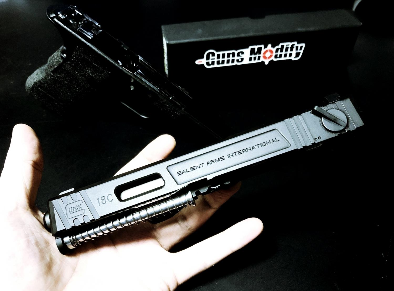 0000000【前半】 SAI GLOCK カスタムスライド G18C 組込完了!! やっと組み立てたぞ!! Guns Modify Salient Arms GM0251 スライドパーツ 購入 組込 分解 取付 カスタム レビュー!!