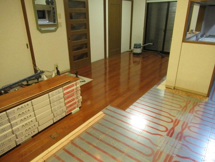 北広島床暖⑥フロア貼り