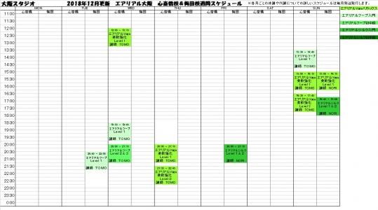 大阪エアリアル心斎橋梅田エアリアルヨガ・エアリアルフープ・エアリアルシルク教室レッスンスケジュール