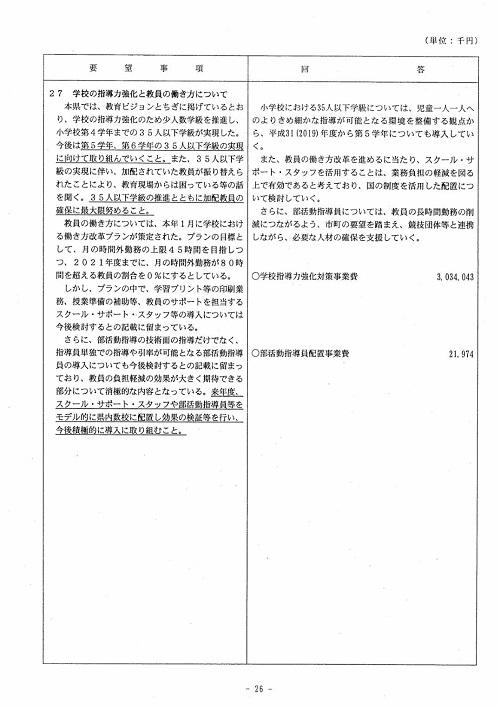 栃木県議会<民主市民クラブ>2019年度 政策推進・予算化要望 知事回答26