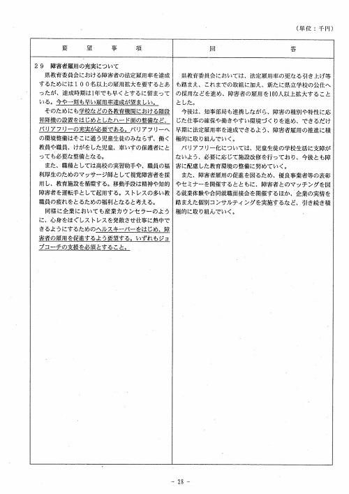 栃木県議会<民主市民クラブ>2019年度 政策推進・予算化要望 知事回答28