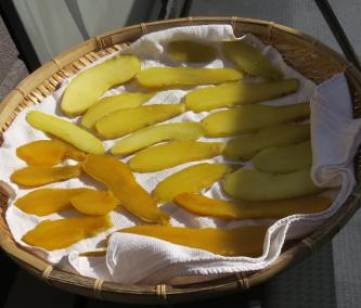 サツマイモのスライス乾燥