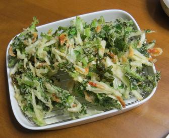 ルッコラとヤマイモ天ぷら