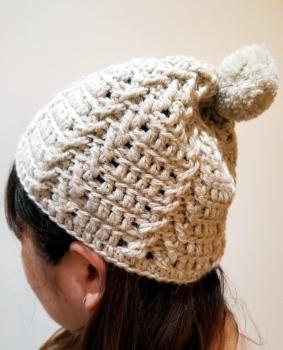かぎ針ポンポン帽子2