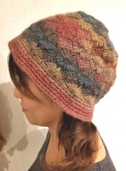 フラワーアフガン帽子1