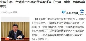 news中国主席、台湾統一へ武力放棄せず=「一国二制度」の具体案検討