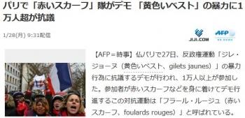 newsパリで「赤いスカーフ」隊がデモ 「黄色いベスト」の暴力に1万人超が抗議