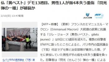 news仏「黄ベスト」デモ13週目、男性1人が指4本失う重傷 「閃光弾の一種」が破裂か