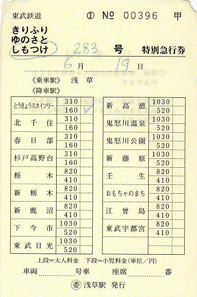 浅草→とうきょうスカイツリー 特急券 しもつけ283号