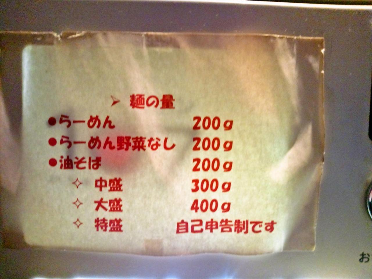 ラーメン107(麺の量)