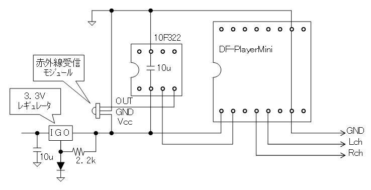 DFPlayerMiniの制御(回路図)