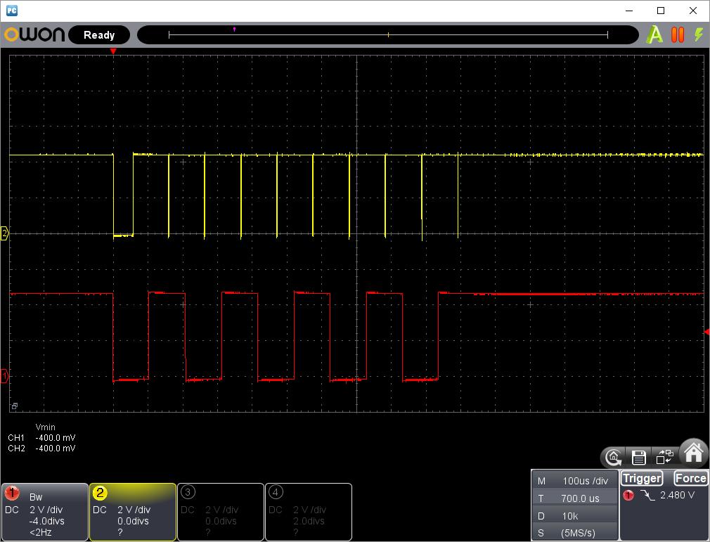 DFPlayerMiniソフトUART割込み受信タイミング検証波形