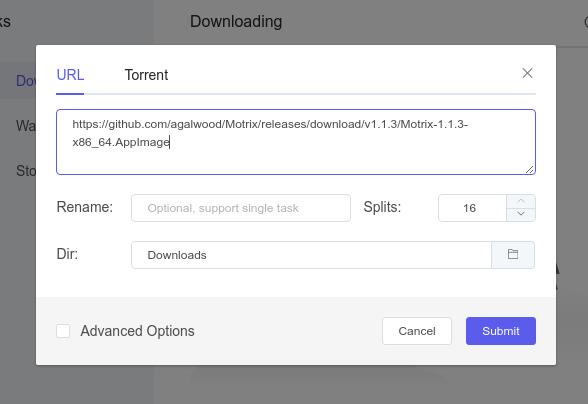 Motrix ダウンロードマネージャ― URLのコピー