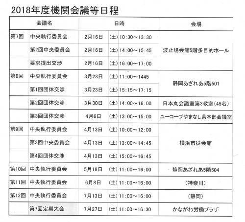 2018年度機関会議日程