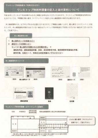 ワンストップ特例申請書添付資料