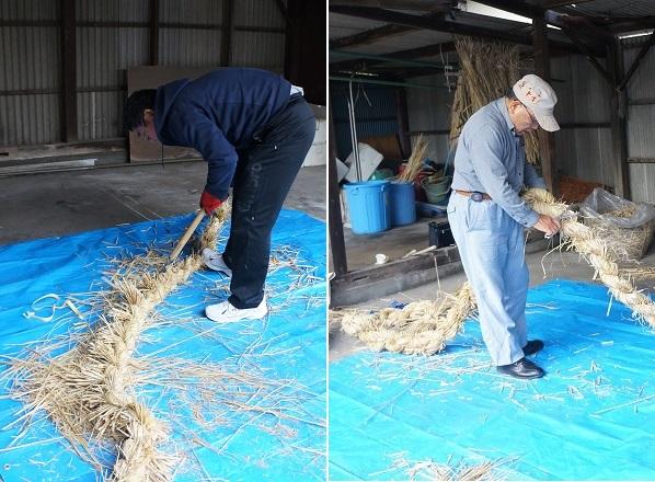 2本目を編み上げたところで、足したワラの出っ張りをカット。左は、おおまかに剪定鋏で、右は細かくハサミで行ってます☆