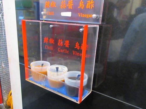 辣椒(チリ)・蒜醤(ガーリック)・鳥醋(ビネガー)の3種類