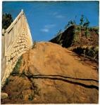 3.絵画:切通しの写生(道路と土手と塀)