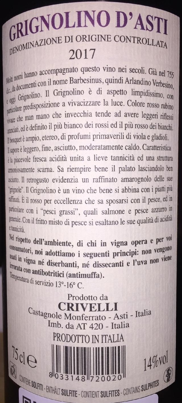 Grignolino dAsti Crivelli 2017 part2