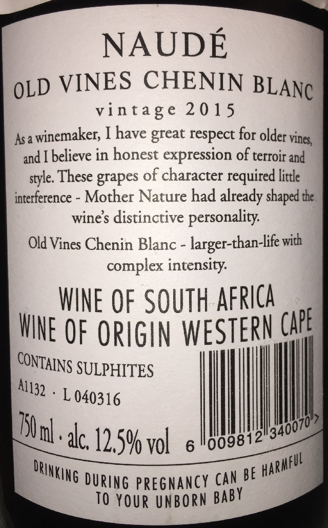 Naude Old Vines Chenin Blanc 2015 part2