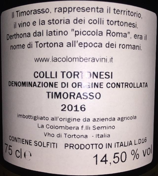 La Colombera Derthona Colli Tortonesi Timorasso 2016 part2