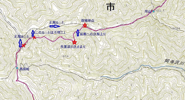 西原峠ルートミス